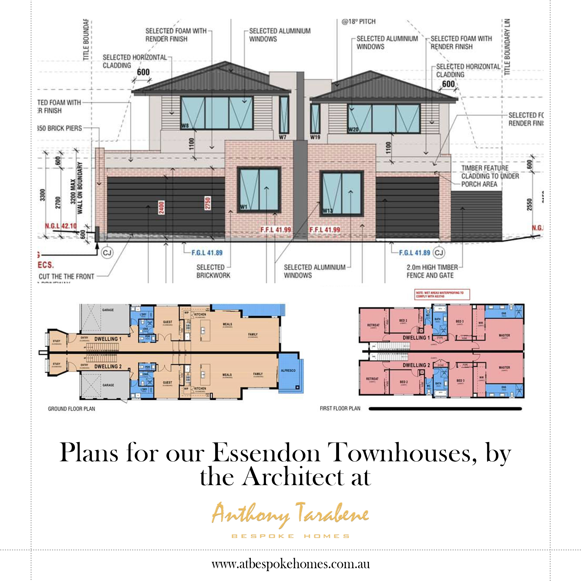 plan for our Essendon townhouse, by the architect at